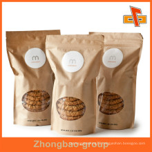 Printing Brown White Paper Bag With Clear Window For Baked Cookies , Breads , Cakes