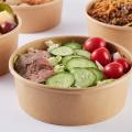 Einweg-Salatschüssel aus Papier mit Plastikdeckel zum Mitnehmen