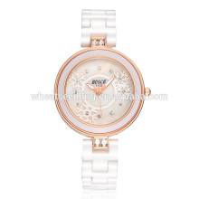 Delgado cristal muñeca especial señoras bling relojes de color blanco