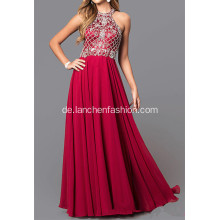 Red Chiffon Lange Kleid mit Pailletten Top