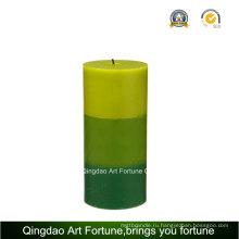 Ароматическая ручка залита 3-х слойная свеча Пилар для украшения