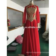 Manga longa vestido de casamento arabe vermelho vestido de noiva muçulmano hijab
