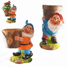 Polyresin Dwarf Flowerpot for Yard Garden Gnome Decoration