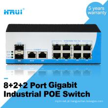 Porta combinada robusta gigabit 2 não gerenciada, poe industrial de 8 portas