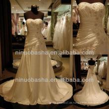 Q-6256 Satin Appliques Hochzeitskleid Mantel geraffte Mieder Brautkleid