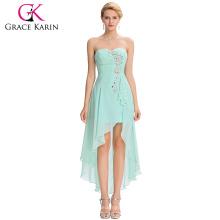 Grace Karin 2016 Neue Design trägerlosen blasse Türkis High Low Sequins Chiffon Heimkehr Kleid Party Kleider GK000042-1