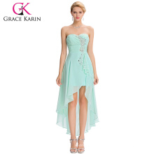 Grace Karin 2016 New Design Strapless Pale Turquoise High Low Sequins Chiffon Homecoming Dress Party Gowns GK000042-1