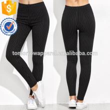 Black High Waist Vertical Striped Leggings OEM/ODM Manufacture Wholesale Fashion Women Apparel (TA7034L)