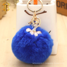 Porte-clés mignon doux de fourrure avec décoration de diamants Porte-clés en boule de fourrure de lapin