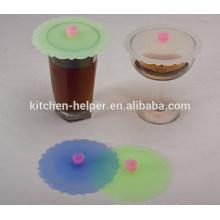 Eco-friendly Al por mayor FDA Alimentos Grado Reutilizables Anti-polvo lindo tapa de la taza del estiramiento del silicón, Taza del té del café Cubierta de la tapa de la taza del silicón