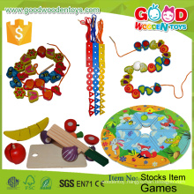 Hot Sale Two Bear Dress Puzzle Box Toy Educational Wooden DIY Beads Child Games for Kids