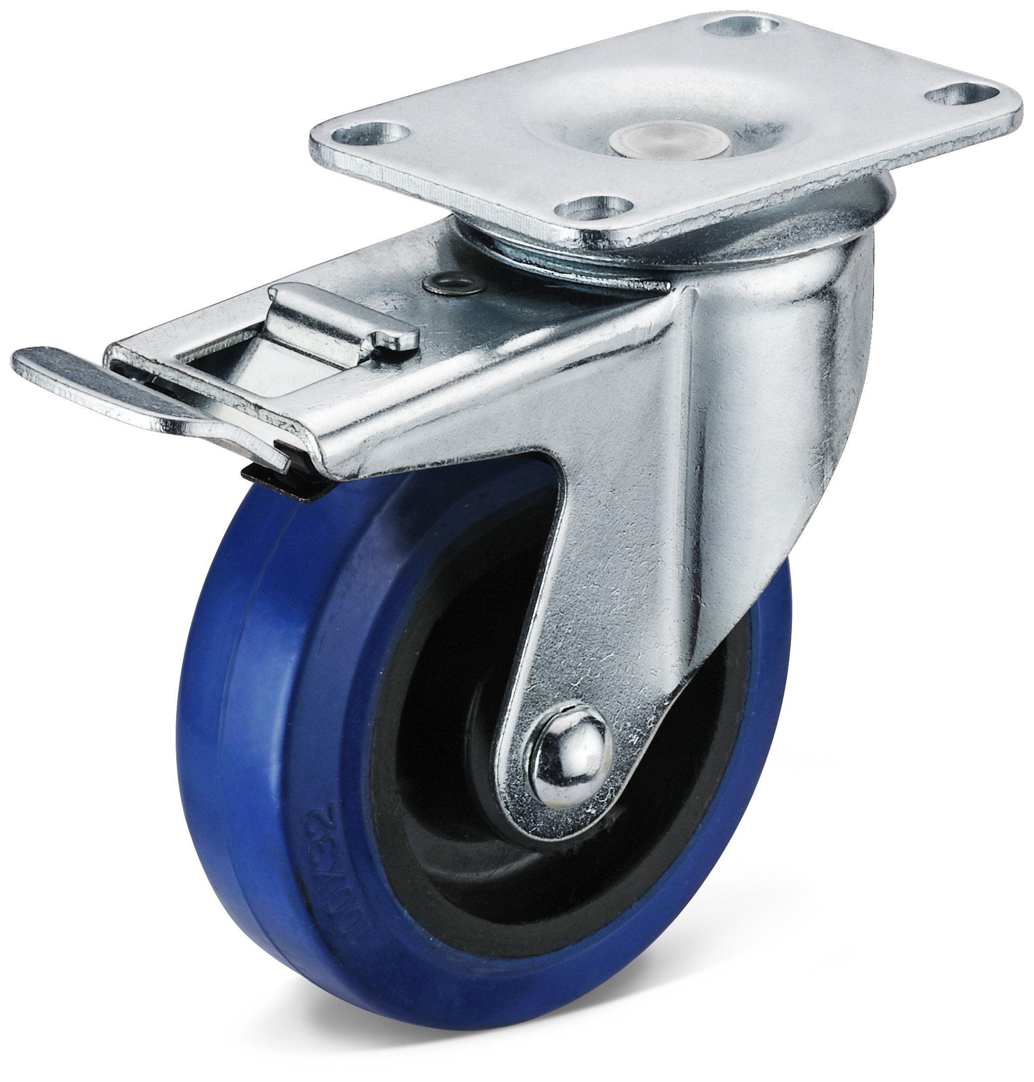 Elastic Rubber Double Brake Casters