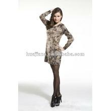Vestido de impressão de camisola de caxemira feminina