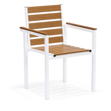 Plastic Wood Outdoor Dining Table Chair