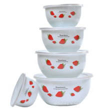 Emaille-Salat-Schüssel 5PCS gesetzt mit Plastikabdeckung