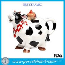 Lovely Cow Shaped Keramik-Plätzchen-Topf mit Hühnchen-Deckel