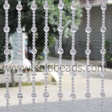 Xmas 22MM&12MM Wire Crystal Plastic Beading Garland Trim