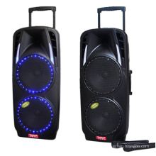 Double 10inch Portable PA System with Rechargeable Battery & Dual Wireless VHF Microphones / Bluetooth Connectivity F73