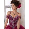 ASQ05 azul cielo azul manga completa perlas y cristal brillante vestido de baile de baile quinceañera vestidos