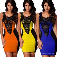 2015 Frauen Knie-Länge Kontrast Farbe Splice Spitze Bodycon Pencil Dress