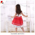 Wholesale girls white lace red tulle dress