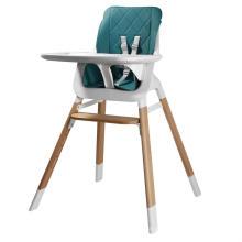 Cadeira alta de plástico com pés de madeira para bebês