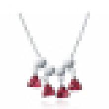 925 Sterling Silver Colares Pombo Sangue Rubi Vermelho Romântico Triângulo Pingente de Colar para As Mulheres de Noivado jóias