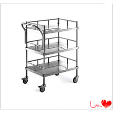 Stainless Steel Hospital Three Shelf Trolley