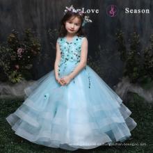 El vestido de lujo azul sin mangas de la flor XXLF202 viste el perno de la flor para el vestido largo