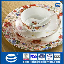 russian favor printing garden series spring style tableware porcelain plates bowl set