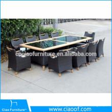 Table de salle à manger de style tropical en aluminium, 10 pièces