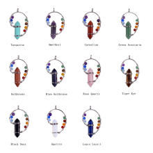 Wholesale Fashion Jewelry Gemstone 7 Chkara Point Crystal Pendant Necklace