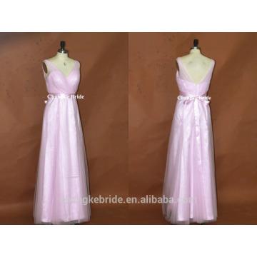 Vestido de la dama de honor de Tulle maximo elegante con cuello en V