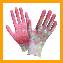13Gauge Flower Print Polyester Liner Coated Cheap Latex Gloves Garden Flower Gloves