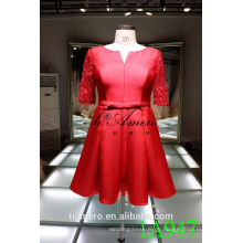 1A947 rojo satinado vestido de encaje manga de la rodilla vestido de noche vestido de fiesta