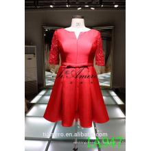 1A947 Red Satin Dress Lace Sleeve Knee Length Evening Dress Prom Dress