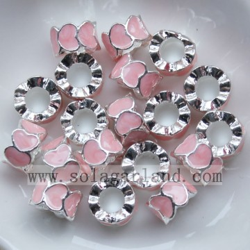 Wholesale Silver With Colorful Oil Dripping Heart Chunky Metal Beads