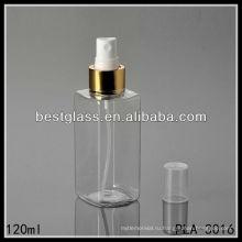 пластичная бутылка, пластичная квадратная бутылка, 120 мл пластиковая бутылка лосьона с золотой насос