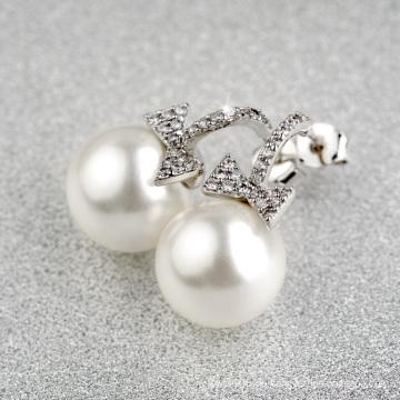 Luxus Geschenk Artikel neuesten Design von Weißgold hängende Perle und Zirkonia Ohrring
