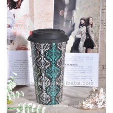 China porcelain modern ceramics mug with silicon lid and sleeve
