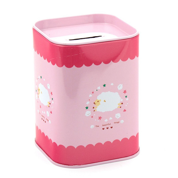 Square Metal Coin Piggy Bank Tin Money Box