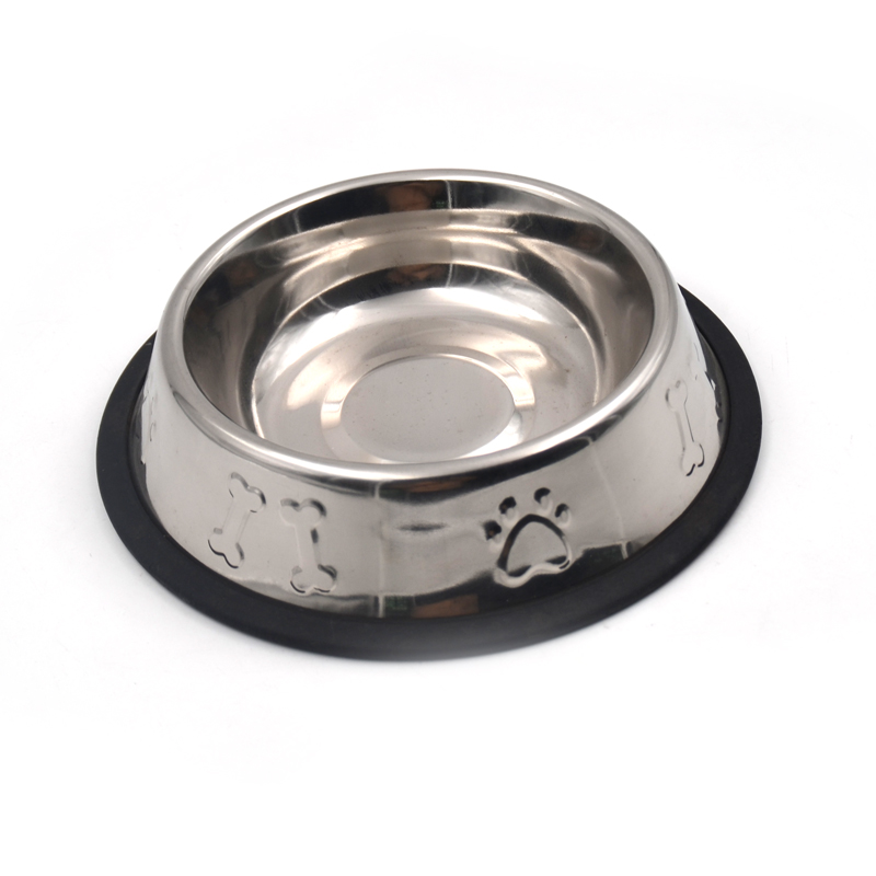 Stamp Dog Bone Paw Stainless Steel Pet Bowl