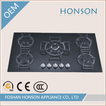 Роскошный дизайн стеклянной столешницей 5 конфорок газовые плиты для продажи