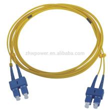SC SM cabo de remendo de fibra óptica duplex, sc ponte de fibra óptica, sc-sc cabo de remendo com preço barato por metro