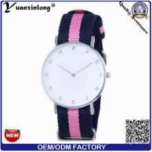 Yxl-212 montre de bracelet en nylon de quartz de mode, montre tissée élégante de montre de dame de sport de courroie tissée par dame de l'OTAN