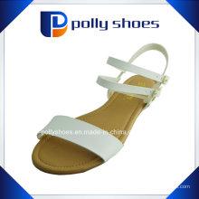 Sandália moderna das senhoras do couro liso do plutônio da sandália da mulher da forma