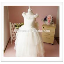 Fancy White Layered A-Line Scalloped Sleeveless Customized Vestidos Girl Dress for Wedding FG004 flower-girl-dress-patterns