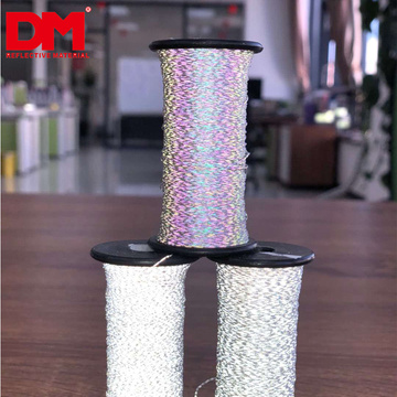 custom width high visible double side silver grey light reflex thread soft retro reflective fabric yarn for knitting