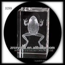 K9 3D Laser Etched Frog Inside Crystal Rectangle