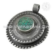 Diseño único 925 Plata de ley Afgano piedra colgante mayorista Joyería de plata hecha a mano